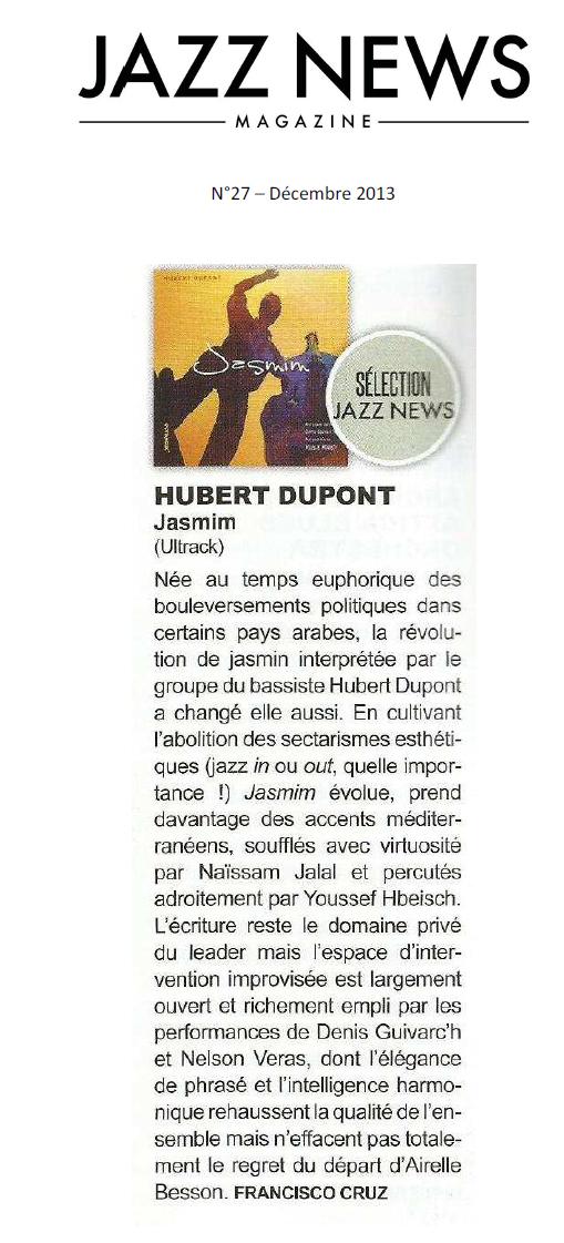 Chronique Jasmim Jazz News Déc 2013
